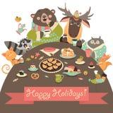 Cute animals celebrating holidays Royalty Free Stock Image