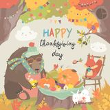 Cute animals celebrating Thanksgiving day in the forest. Cute animals celebrating Thanksgiving day. Vector illustration royalty free illustration