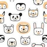 Set of cute animals. Character. Seamless pattern. Vector. stock illustration