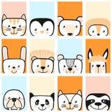 Set of cute animals. Character. Vector. Cute animals. Character. Vector illustration. African cheerful animals. Calendar stock illustration