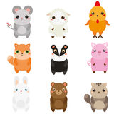 Cute animals. Children style, isolated design elements, vector. Cartoon kawaii wildlife and farm animals Royalty Free Stock Image