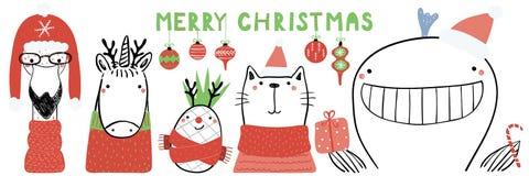 Cute animals Christmas card stock illustration