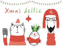 Cute animals Christmas card vector illustration
