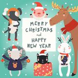 Cute animals Christmas set. Hand drawn card with cute funny animals in Santa Claus hats, smowmen, text Merry Christmas and Happy New Year. Vector illustration royalty free illustration