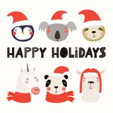Cute animals Christmas set stock illustration