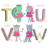 Cute animals with closed eyes in pink dress. Letter T U V W of the kids alphabet with elements zentangle, doodling style for children education. Vector Royalty Free Illustration
