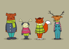 Cute animals in clothes. Vector illustration Stock Image