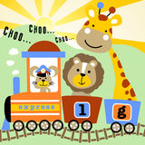 Cute animals with coal train vector illustration