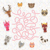 Cute animals collection labyrinth game for Preschool Children. Vector Royalty Free Stock Photos