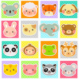 Cute animals collection. Collection of cute animals over polka dotted patterns (swatches included Royalty Free Stock Photos
