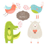 Cute animals. Collection. Vector illustration with birds, alligator and sheep. Love animal isolated on white background Royalty Free Stock Photo
