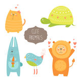 Cute animals collection. Vector illustration with cat, turtle, rabbit, bird and lion. Love animal isolated on white background Royalty Free Stock Image