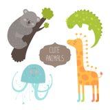Cute animals collection. Vector illustration with koala, iguana, giraffe and jellyfish. Love animal isolated on white background Stock Photo