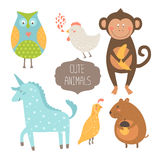Cute animals collection. Vector illustration with owl, hen, monkey,  unicorn, quail and vole. Love animal isolated on white background Stock Photos