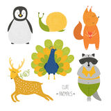 Cute animals collection. Vector illustration with raccoon, snail, penguin, deer, peafowl and  squirrel isolated on white background Royalty Free Stock Image