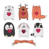 CUTE ANIMALS Comic Valentines Cartoon Vector Illustration Set royalty free illustration