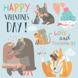 Cute animals couples in love collection Royalty Free Stock Photos
