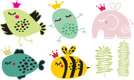 Cute animals in crown set. Vector illustration Stock Photos