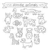Cute Animals Doodle Set. Stock Image