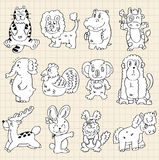Cute animals draw Royalty Free Stock Images