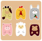 Cute animals. Drawing of set of cute animals for children - cow, chicken, bunny, piggy, monkey, lamb Stock Photo