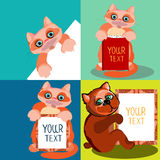Cute animals, drawn in a cartoon style. Set of the  illustrations with space for text. Royalty Free Stock Photography