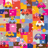 Cute animals driving cars kids collage pattern vector illustration
