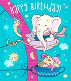 Cute animals - an elephant, a mouse and a family of birds ride on the carousel royalty free illustration