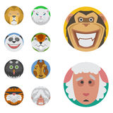 Cute animals emotions icons isolated fun set face happy character emoji comic adorable pet and expression smile Royalty Free Stock Photography