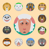 Cute animals emotions icons isolated fun set face happy character emoji comic adorable pet and expression smile Royalty Free Stock Images