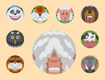 Cute animals emotions icons isolated fun set face happy character emoji comic adorable pet and expression smile Royalty Free Stock Image