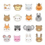 Cute animals faces. Big set of cartoon kawaii wildlife and farm animals icons royalty free illustration