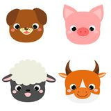 Cute animals faces. Cartoon kawaii farm pets icons. Dog, pig, sheep, cow. Stickers, emoji. design elements for kids royalty free illustration