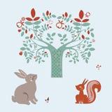Cute animals and fantasy tree Royalty Free Stock Photos