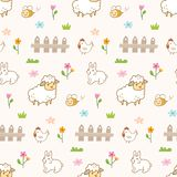 Cute animals in the farm seamless background vector illustration