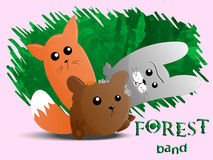 Cute animals forest band Stock Photo