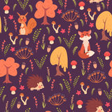 Cute animals in forest pattern vector illustration