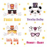 Cute animals in funky hats and glasses. Set of hand drawn portraits of cute funny cartoon animals in funky hats and glasses, with typography.  objects on white Royalty Free Stock Images