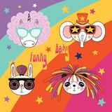 Cute animals in funky hats and glasses. Set of hand drawn portraits of cute funny cartoon animals in funky hats and glasses, with typography.  objects. Vector Stock Images