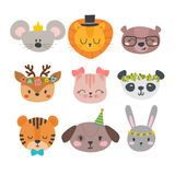 Cute animals with funny accessories. Cartoon zoo. Set of hand drawn smiling characters. Cat, lion, panda, dog, tiger, deer, bunny. Mouse and bear. Vector Stock Photo