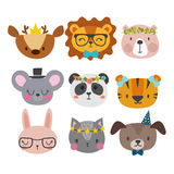 Cute animals with funny accessories. Cat, lion, panda, dog, tiger, deer, bunny, mouse and bear. Cartoon zoo. Set of hand drawn smi. Ling characters. Vector Stock Photo