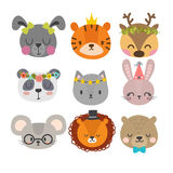 Cute animals with funny accessories. Set of hand drawn smiling characters. Cat, lion, panda, bunny, dog, tiger, deer, mouse. And bear. Cartoon zoo. Vector Stock Image