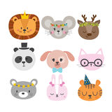 Cute animals with funny accessories. Set of hand drawn smiling characters. Cat, lion, panda, dog, tiger, deer, bunny, mouse  Stock Images