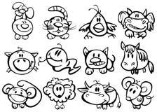 Cute animals, funny horoscope. Stock Photo