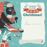 Cute animals giving presents. Merry Christmas Card Stock Photos