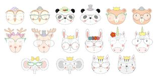 Cute animals in glasses. Big set of hand drawn cute funny portraits of cat, bear, panda, bunny, deer, unicorn, owl, elephant in different glasses. Isolated Stock Images