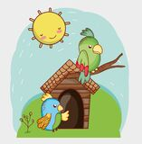 Cute Animals, Green And Blue Parrots In Branch Cartoon Royalty Free Stock Photos
