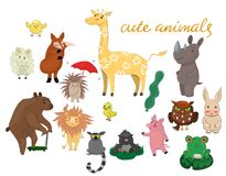 Cute animals hand drawn style Vector illustration stock illustration