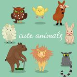 Cute animals hand drawn style Vector illustration royalty free illustration