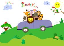 Cute animals have a nice journey by car. Fun time together. stock illustration